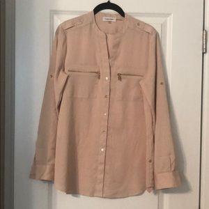Calvin Klein zip pocket button-down blouse